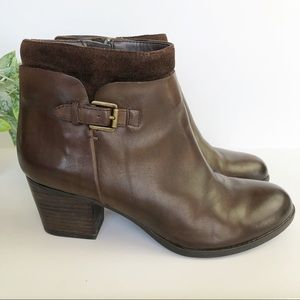 Franco Sarto Brown Leather Heeled Ankle Booties